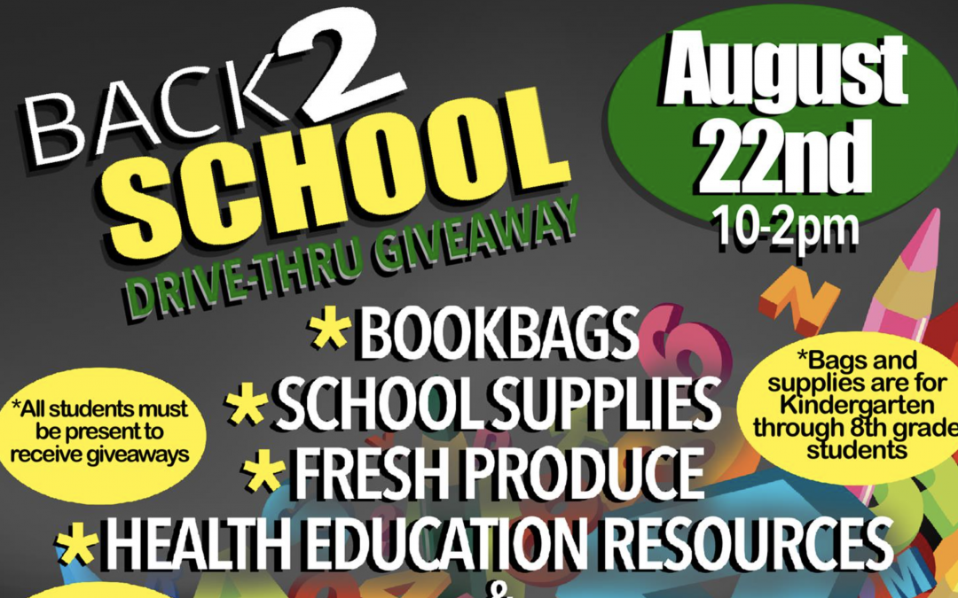 BACK2SCHOOL Drive-Thru Giveaway on Saturday, August 22