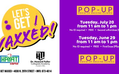 Let's Get Vaxxed: Pop-Up Vaccination Clinics on June 29 and July 20